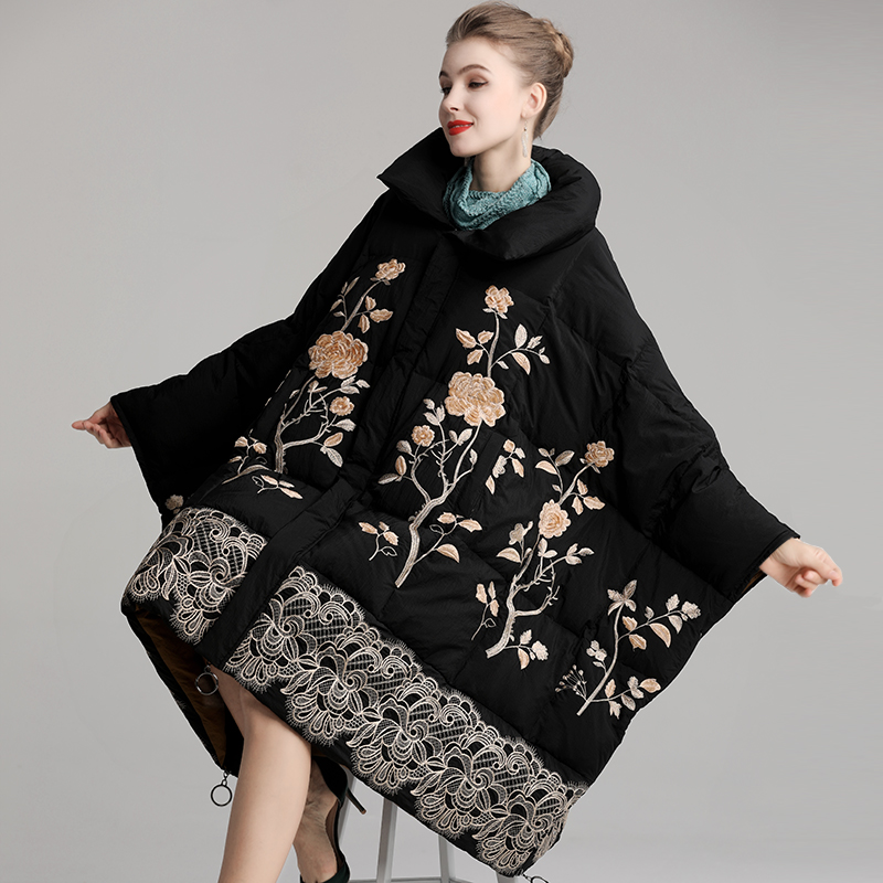 Winter Loose Down Jacket Chinese Style Embroidery Standing Collar Batwing Sleeve Retro Down Coat One Size