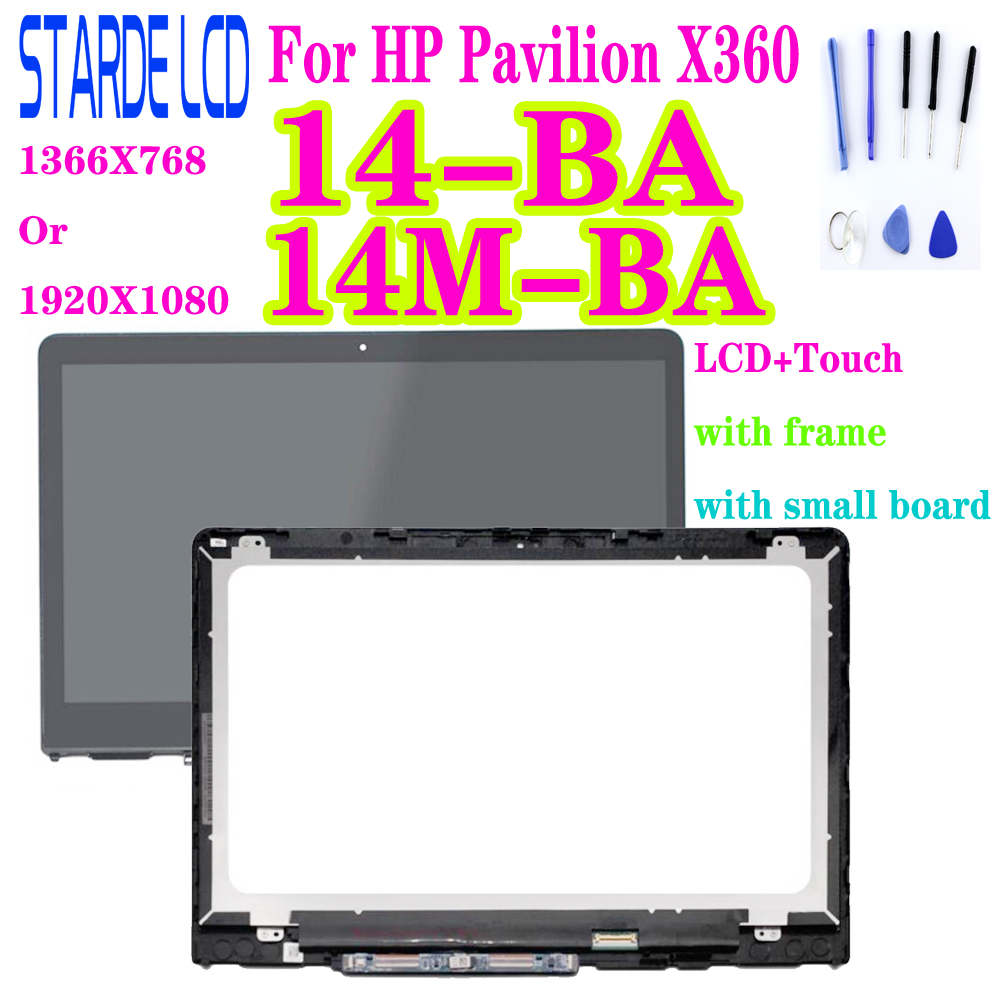 For HP Pavilion X360 <font><b>14</b></font>-BA 14M-BA LCD Display <font><b>Touch</b></font> <font><b>Screen</b></font> Digitizer Glass LCD Assembly with Frame and Small Board image
