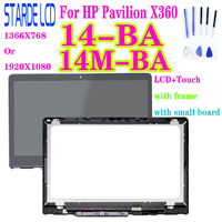 For HP Pavilion X360 14 BA 14M BA LCD Display Touch Screen Digitizer Glass LCD Assembly with Frame and Small Board