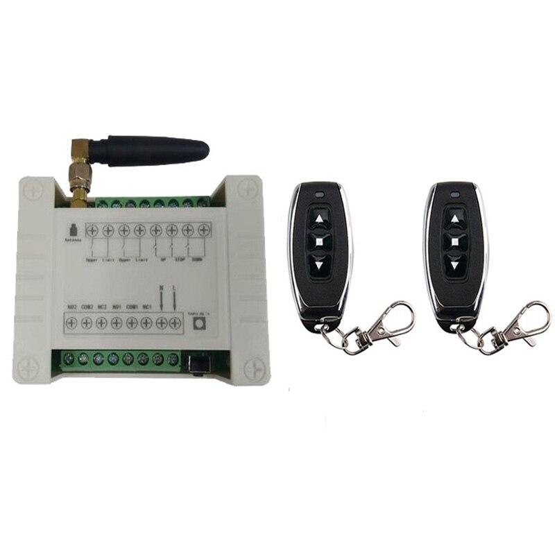 433mhz RF 12V 24V 48V porta elétrica/cortina/limite de persianas sem fio radio controle remoto interruptor para a frente e reverter os motores