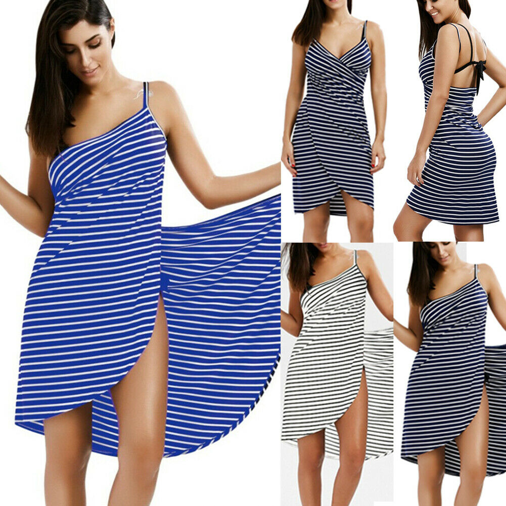 VIP-2019 New Style Fashion Hot Women Stripe Sling Backless Swimwear Scarf Beach Cover Up Wrap Sarong Long Dress
