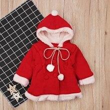 Рождественская Детская зимняя верхняя одежда для девочек, с длинными рукавами, с капюшоном на Рождество, утепленная Вельветовая куртка, детская одежда 2-7Y