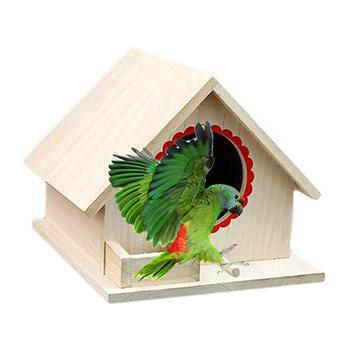 Bird Pet Nest Wooden Birdhouse Small Outdoor Garden Parrot Bird Nest Wooden Bird House Bird Cage Pet Supplies