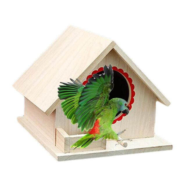 Bird Pet Nest Wooden Birdhouse Small Outdoor Garden Parrot Bird Nest Wooden Bird House Bird Cage Pet Supplies