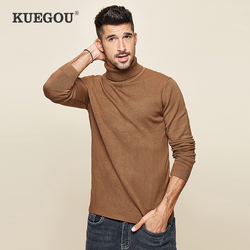 KUEGOU 2020 Spring Plain Black Turtleneck Sweater Men Pullover Casual Jumper For Male Brand Knitted Korean Style Clothes 89002