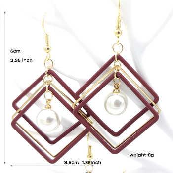 Korean Earrings Fashion Simple Alloy Geometric Square Clip Retro Earrings Girl Jewelry Tassel Earrings Earrings for Women