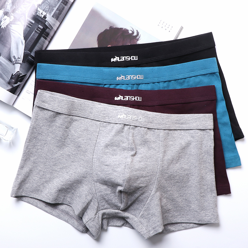 ALANSHOW 2pieces Mens Underwear Soft Boxers Cotton Boxer Men Solid Boxer Shorts Plus Size Boxers Comfortable Mens Underwear