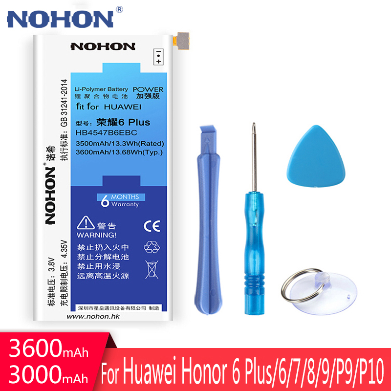 NOHON Battery For <font><b>Huawei</b></font> Honor 6 Plus 7 8 Lite 9 HB4547B6EBC HB366481ECW HB494590EBC P9 <font><b>P10</b></font> Replacement <font><b>Bateria</b></font> Free Tools NEW image
