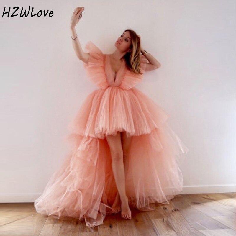 Blush rose haut bas robes de Cocktail manches courtes bouffantes Tulle robe de soirée col en V robe de bal à plusieurs niveaux pas cher robes de soirée