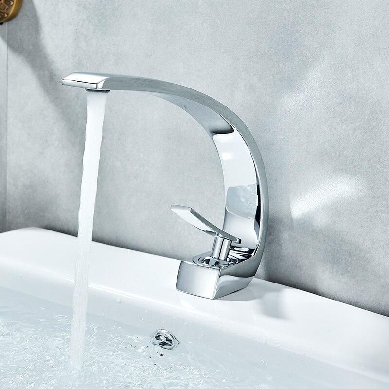Vidric Chrome Orange bassin robinets moderne salle de bain mitigeur laiton lavabo robinet mitigeur monotrou élégant grue robinet