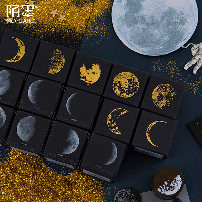 Retro Moon Phase Series Decoration Stamp Wooden Round Rubber Stamps For Scrapbooking Stationery DIY Craft Standard Seal