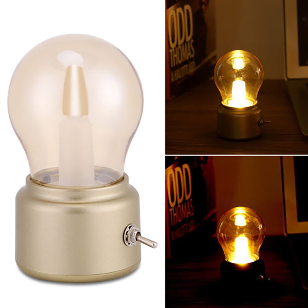 Vintage Bulb Night Light Retro USB Rechargeable Luminative Nightlight LED Energy-saving Mini Reading Light Bed Lamps Decor Sale