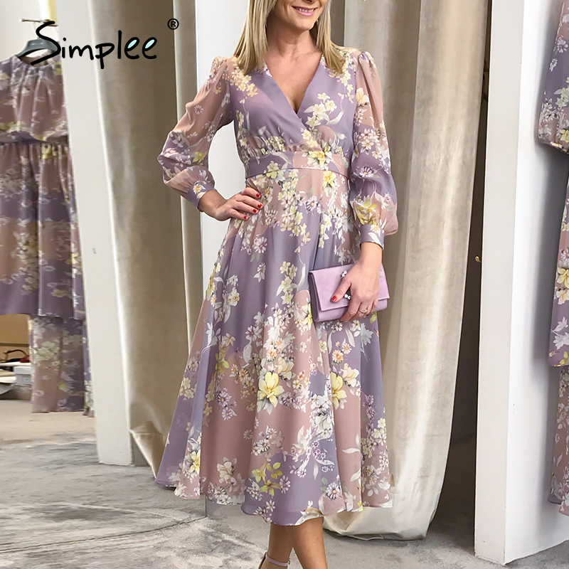 Simplee Elegant pink purple autumn winter women dress V-neck long sleeve flower female dress A-line fashion long party dress