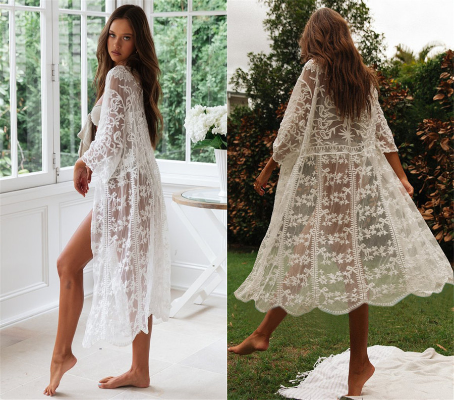 New European And American Lace Embroidery Cardigan Holiday Skirt Bikini Cover Loose-Fit Beach Skirt