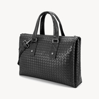 Men Briefcase Bags Handmade Knitting Large Capacity Office Handbag 100% Leather Cowhide Laptop Shoulder Bags Male Travel Bag