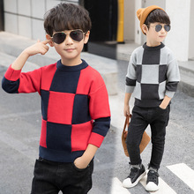 цены 2019 New O Neck Collar Boys Sweaters Baby Plaid Pullover Knit Kids Clothes Winter Plus Velvet Children Sweaters Boy Clothing