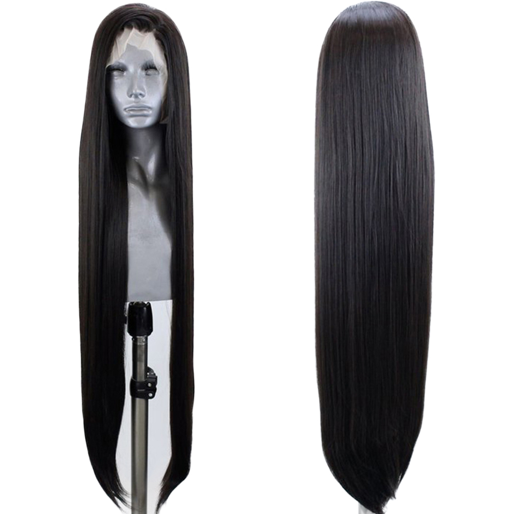 FANXITON Long Natural Straight Glueless Lace Front Wigs Synthetic Wigs Heat Resistant Fiber Women Wigs