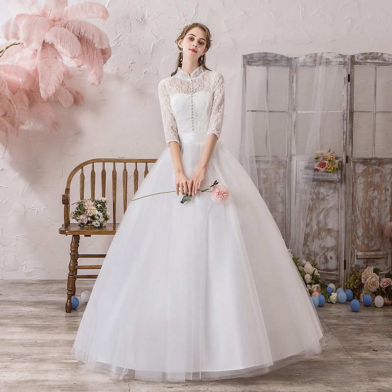 Classic Chinese Style High Neck Half Sleeve Lace Wedding Dress Plus Size Slim Floor Length Princess Bride Gown Robe De Mariee L