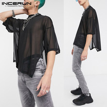 Mens Black Mesh Pub See Through Tee Mesh Sexy Men Punk Streetwear Shirt Oversize Male Tops Breathable Clothing S-5XL INCERUN embroidered mesh insert tee