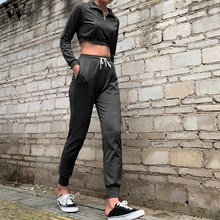Womail hot sale women sport set women sets pants and blouse fashion zipper short top and solid color long pants two piece set(China)