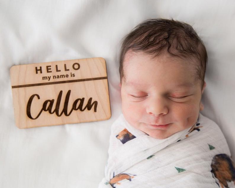 Newborn Announcement Hello My Name Is Tag Newborn Name Sign Newborn Name Tag