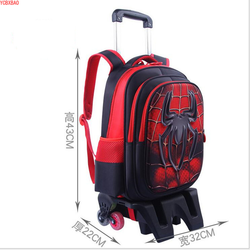 School Trolley Bag Strong Upstair Waterproof Wheeled Children School Bag With 6 Wheels Fashion Girls Kids Wheeled Backpack