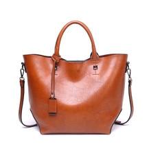 цена на Women Bucket Bag Oil Wax Women Leather Handbags Big Tote Famous Brands High Capacity Female Shoulder Bag Crossbody Bag