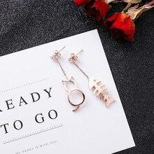 New Asymmetric Cat Fish Earrings Kawaii Cute Fishbone Stud Earrings For Women Party Cat Jewelry Gifts цена