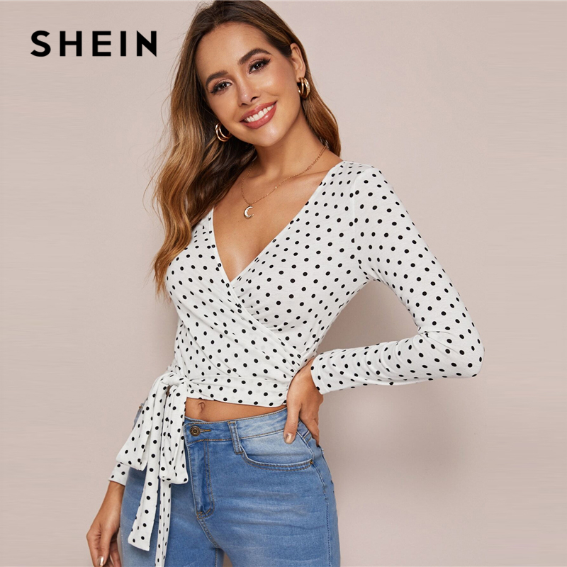 SHEIN White Surplice Neck Belted Polka-dot Top Tshirt Women Spring Summer Slim Fitted Sexy Going Out Elegant Crop T-shirts