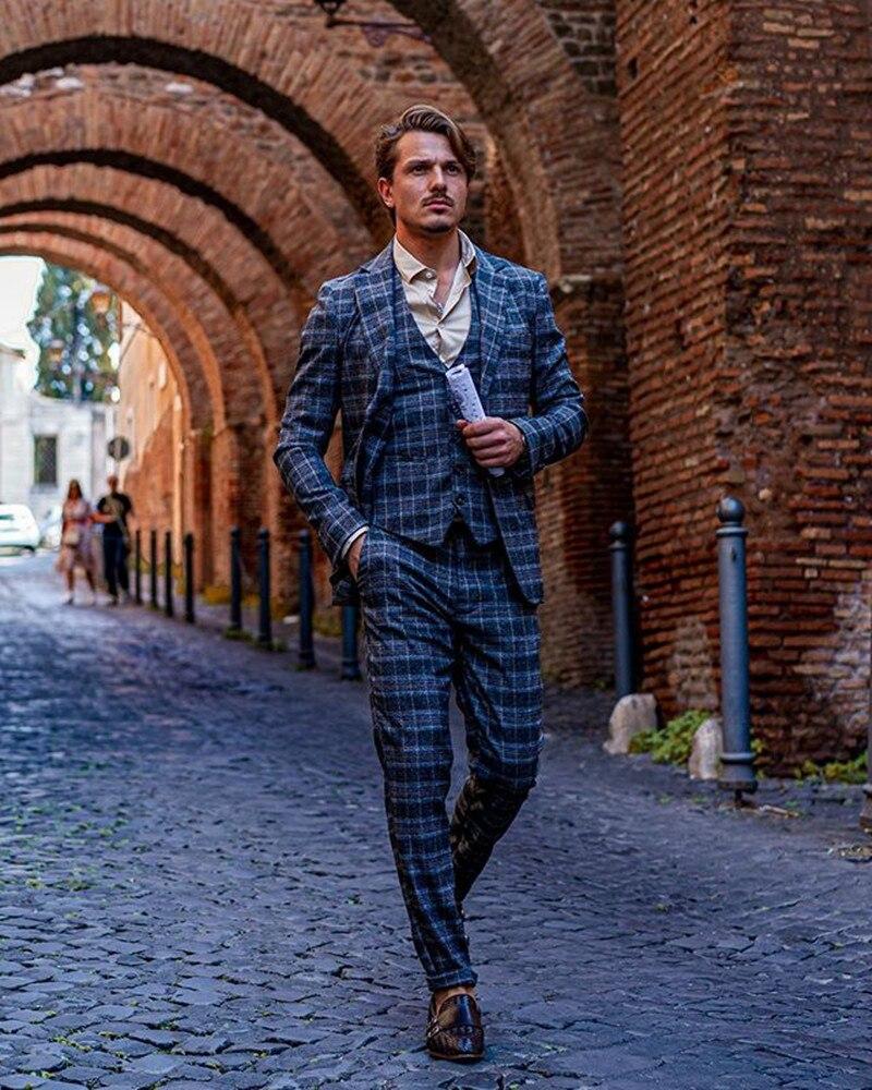 2020 Mens Suits Wool Blend 3 Piece (Coat+Vest+Pants) Notched Lapel Terno Masculino Formal Men Suit Slim Fit