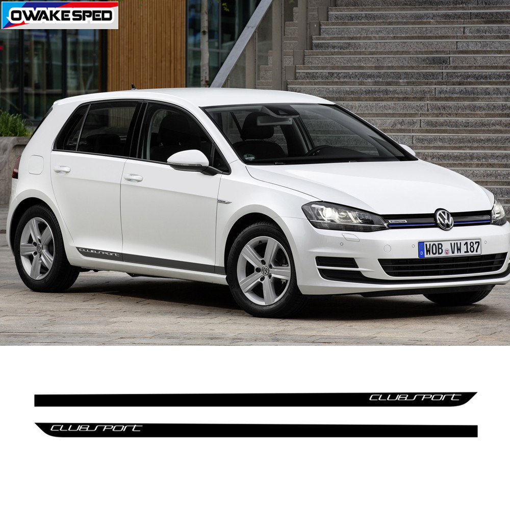 PERFORMANCE Sport Stripes Car Door Side Skirt Sticker Carbon Fiber Clubsport Body Vinyl Decal For Volkswagen Golf 7 MK7