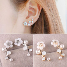 1 Pair Fashion Jewelry Elegant Women Stud earring Flower Faux Pearl Earrings Inlaid Ear Crawler Earrings faux pearl