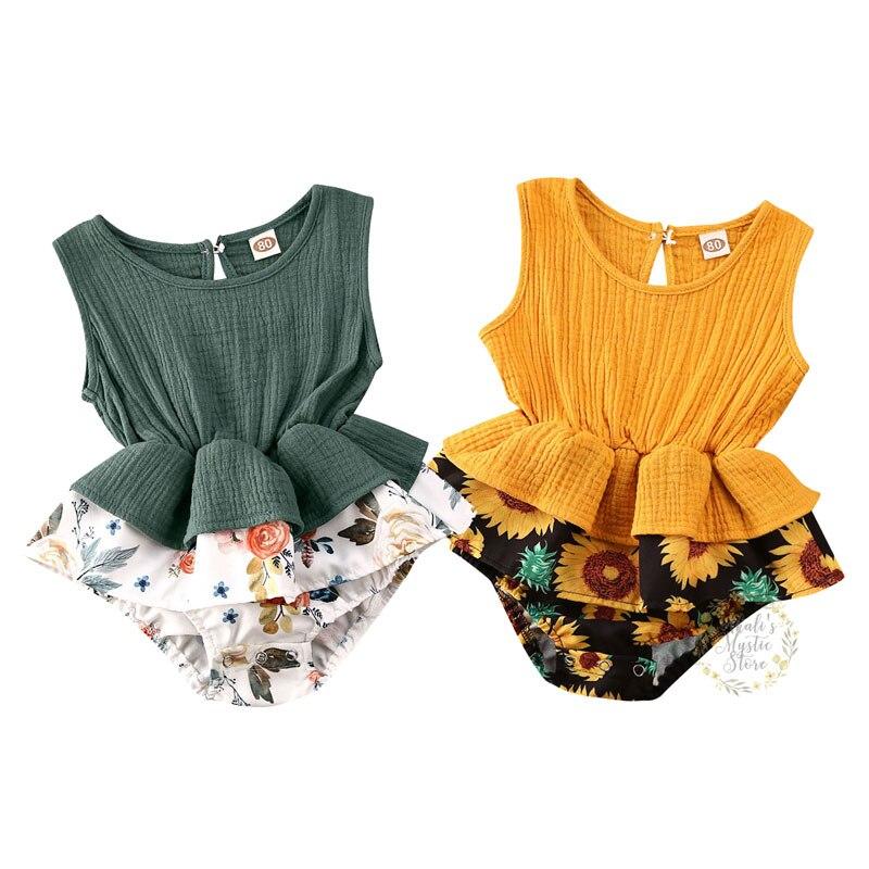3M-24M Newborn Baby Girl Flower Romper Summer Ruffles Sleevless Sunflower Jumpsuit Cute Toddler Infant Girl Costumes
