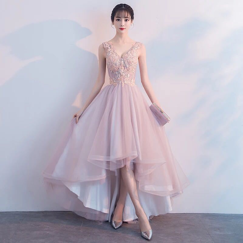 2019 New Style Fashion Dignified Glorious Front Short Long Back Slimming Host Dinner Banquet Pink Evening Dress Women's