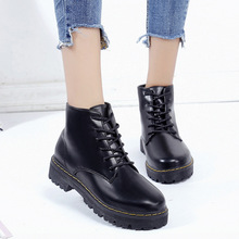 2017 New Style Chunky-Heel Short Boots WOMEN'S Shoes Autumn & Winter Thick Botto