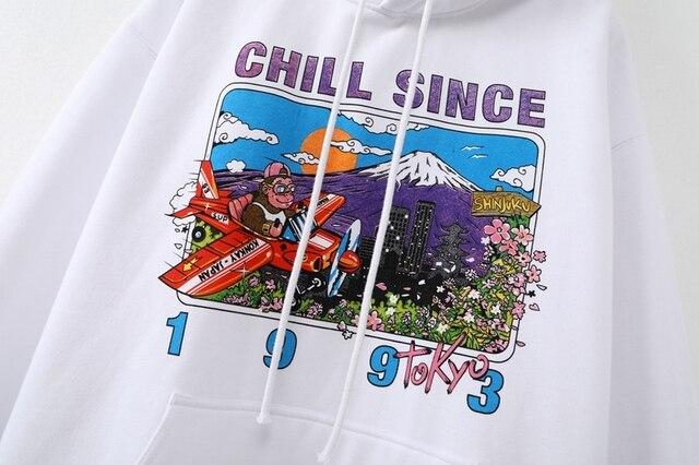 Oversize girls stylish cartoon print hoodies 2020 autumn fashion ladies chic hoodies female casual pullovers streetwear women 4