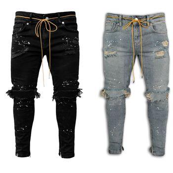 Pantalones vaqueros elásticos para hombre, Jeans ajustados con cremallera en el tobillo, diseño de punto de pintura rota 1