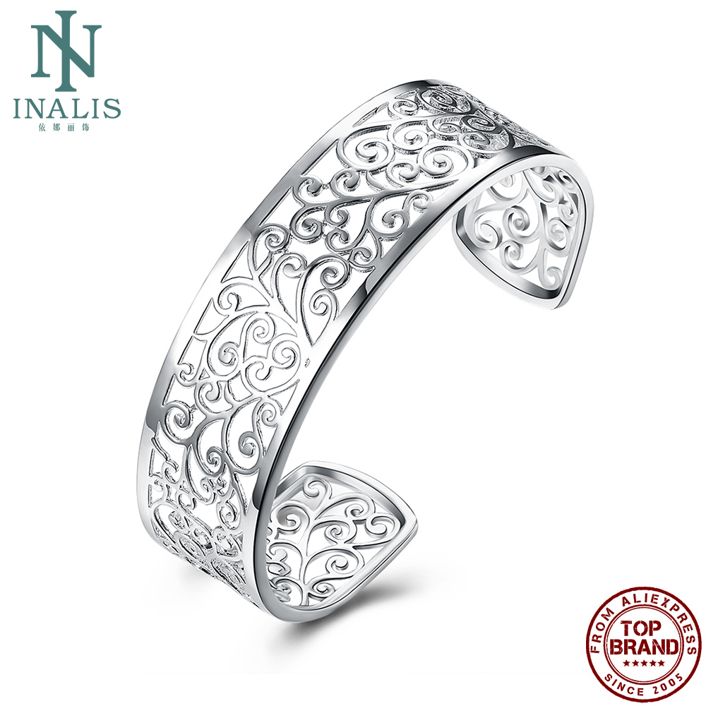 INALIS Branches Connected Cuff Bracelet For Women Hollow Leaves Female Copper Bracelets Engagement Fashion Jewelry On Sale
