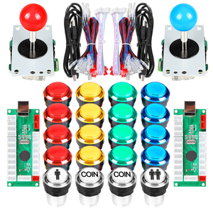 2 Player LED Arcade DIY Kits USB Encoder to PC Joystick + led Arcade Buttons Switch for Raspberry Pi 4 Model Project