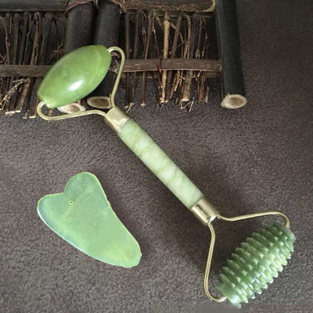 Natural Jade Stone Massage Roller Double Heads Jade Massage Roller Face Lift Tools Body Head Neck Beauty Massage Tools 2