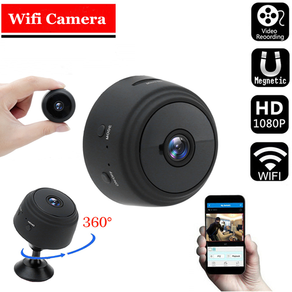 A9 1080P Wifi Mini Camera, Home Security P2P Camera WiFi, Night Vision Wireless Surveillance Camera, Remote Monitor Phone App Sq