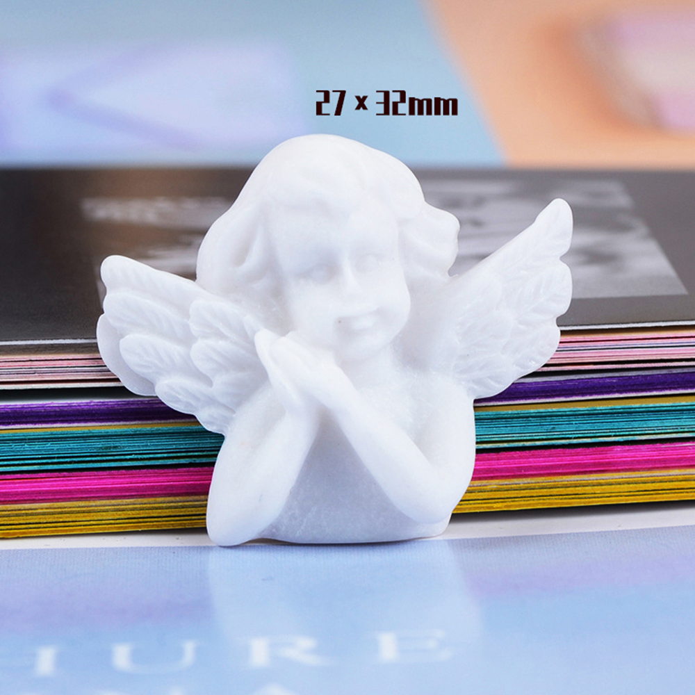 10 Pcs Cute White Wing Angel 3D Resin Charms Slime Clay Accessores Toys Eardrop DIY Handmade Accessory