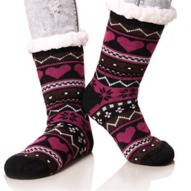 Women Warm Sherpa Fleece Socks Cute Heart Print Multicolor Fleece Sock Warm Home Wearing Socks