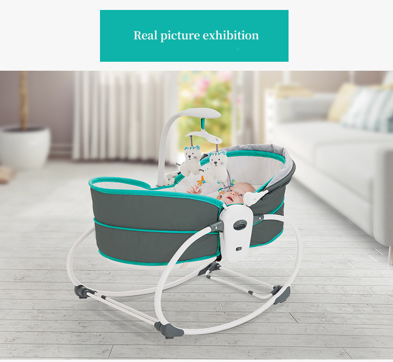 H27ef92b7e4d74534971323dfd2a6de69W Baby electric baby cradle vibration crib in bed rocking chair can do shaker recliner basket three functions optional