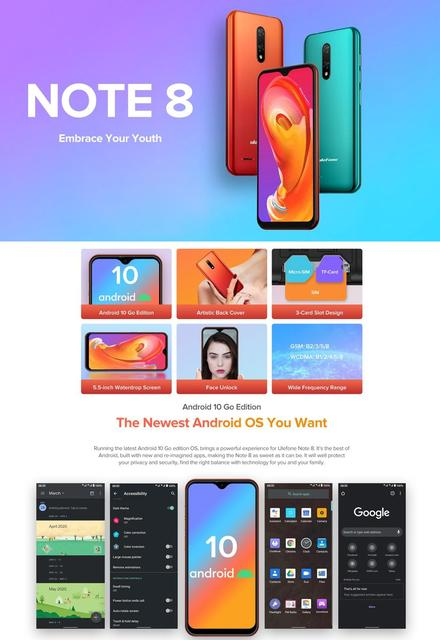 Ulefone Note 8 Smartphone Android 10 Go Celular Phone 5.5 inch Waterdrop Screen Quad Core 2GB+16GB Face ID Unlocked Cellphones 2