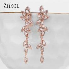 ZAKOL moda polska CZ liść biżuteria ślubna Marquise AAA sześcienne cyrkonie długie zwisają kolczyki ślubne dla eleganckich kobiet FSEP5030