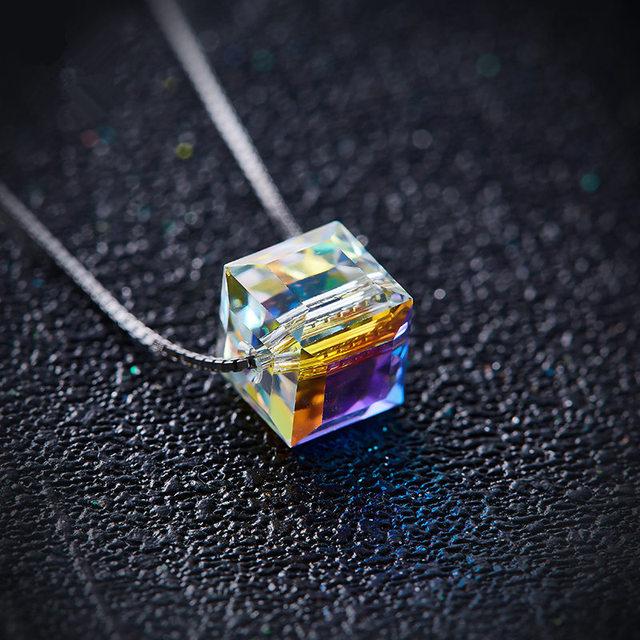 Cdyle 925 collar de plata esterlina con cadena de 8mm AB Color cristal cubo colgante collar joyería de moda accesorios de mujer