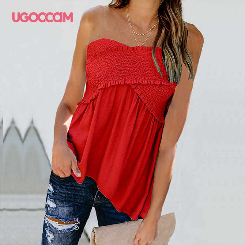 Ugoccam Blouse Vrouwen Sexy Off Shoulder Shirts Onregelmatige Hem Blouse Shirt Plus Size Solid Geplooide Vrouwen Sexy Shirts Ropa Mujer
