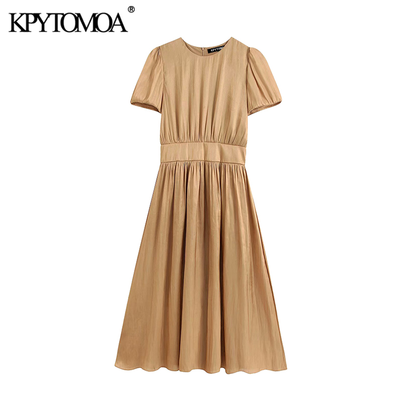 KPYTOMOA Women 2020 Elegant Fashion Office Wear Midi Dress Vintage O Neck Short Sleeve Back Zipper Female Dresses Vestidos Mujer