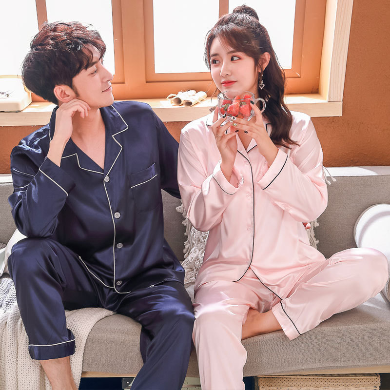 Couple Ice Silk Pajamas Women's Long Sleeve Thin Imitation Silk Cardigan Men's South Korean Silk Home Furnishing Suit